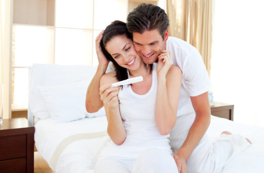 Couple with positive pregnancy test